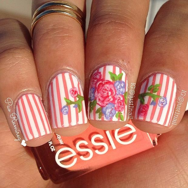 Peachy Striped Nails with Flowers