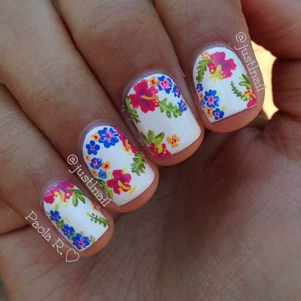 White Nails with Colorful Flowers