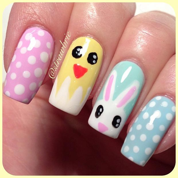32 cute nail art designs for easter stayglam easter nail design for long nails prinsesfo Choice Image