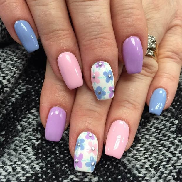Pastel Flower Nail Design - 50 Flower Nail Designs For Spring StayGlam