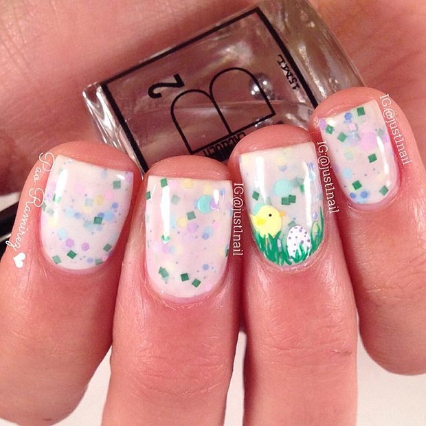 Easter Chicken Accent Nail - 32 Cute Nail Art Designs For Easter StayGlam