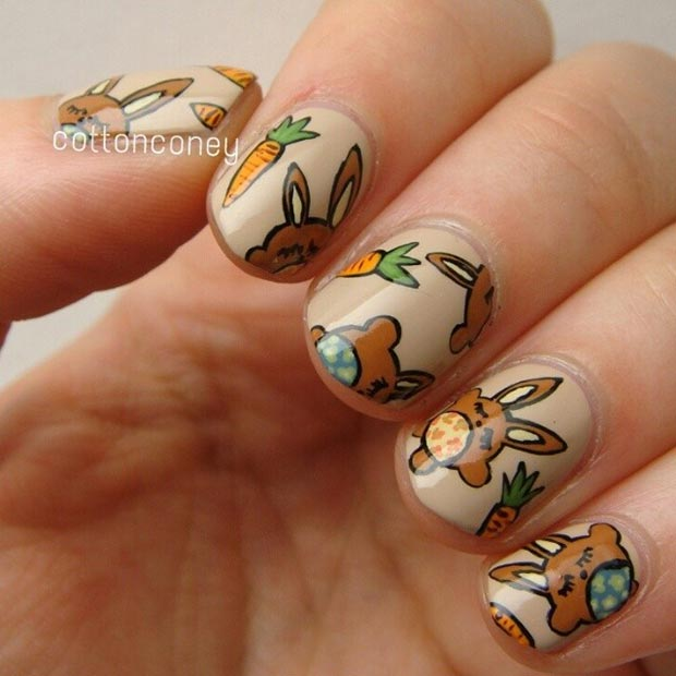 Brown Easter Bunny Nail Design