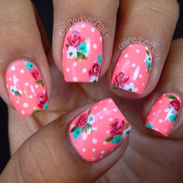 Floral Neon Pink Nails