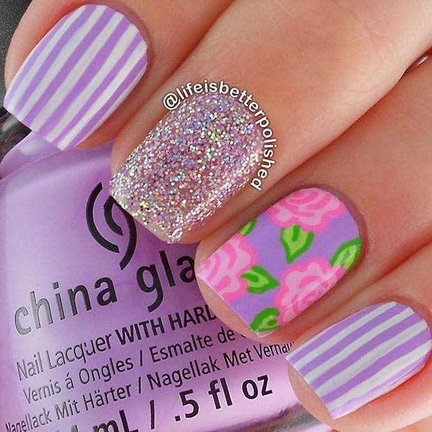 Striped Flower Nail Art Design