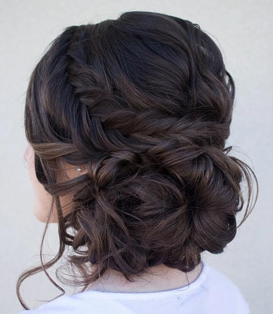Curly Side Bun with a Fishtail Braid