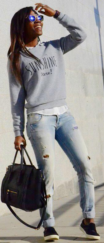 Grey Sweater Ripped Jeans Outfit