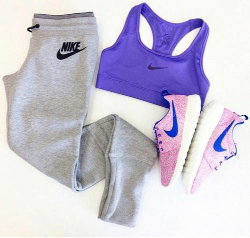 Grey Sweatpants Purple Top Workout Outfit