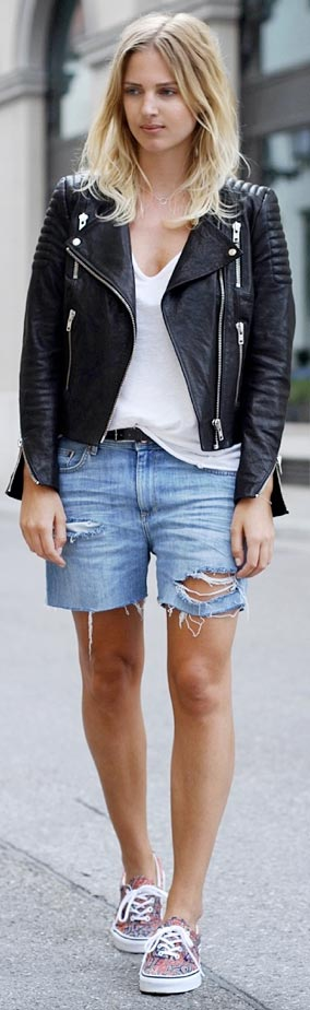 Leather Jacket Denim Shorts Outfit