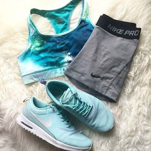 Light Blue and Grey Workout Outfit