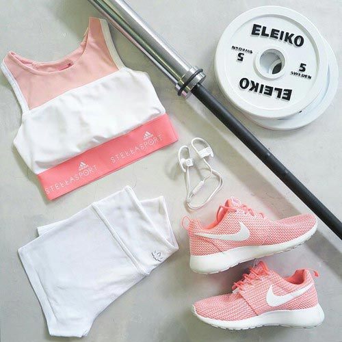 Light Pink and White Workout Outfit