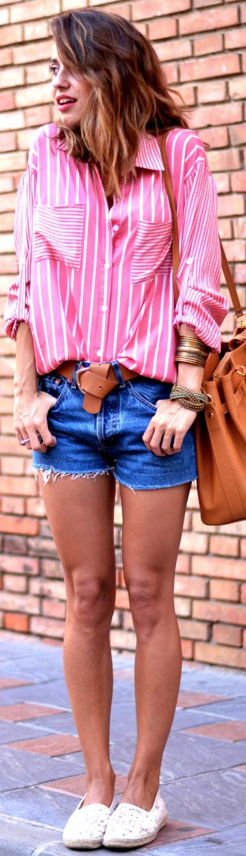 Long Sleeve Blouse Denim Shorts Outfit