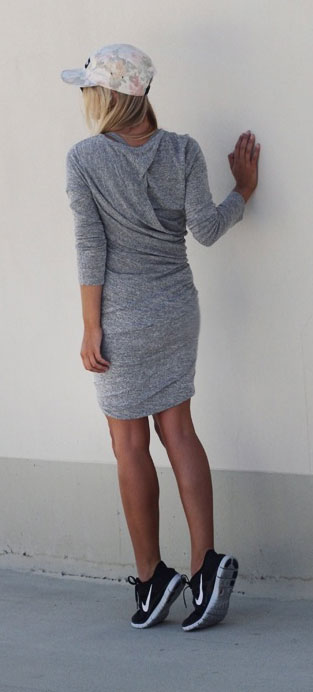 Long Sleeve Dress Nike Sneakers Outfit