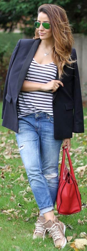 Navy Blazer Denim Jeans Outfit