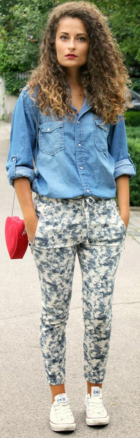 Print Pants Denim Blouse Outfit