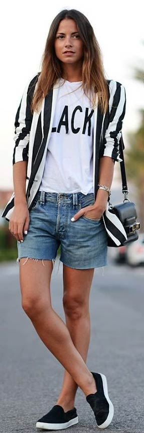 Striped Blazer Denim Shorts Outfit