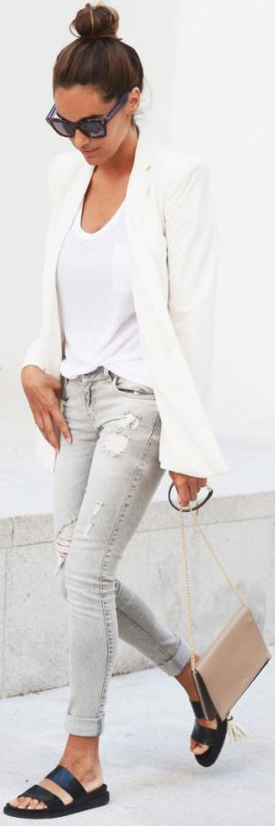 White Blazer Grey Jeans Outfit