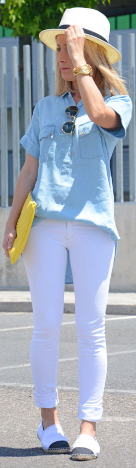 White Jeans Short Sleeve Denim Shirt Outfit