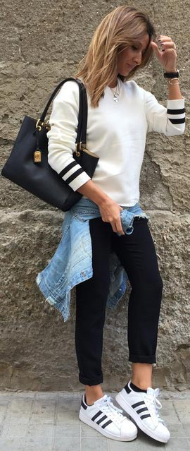 White Sweater Black Trousers Casual Spring Outfit