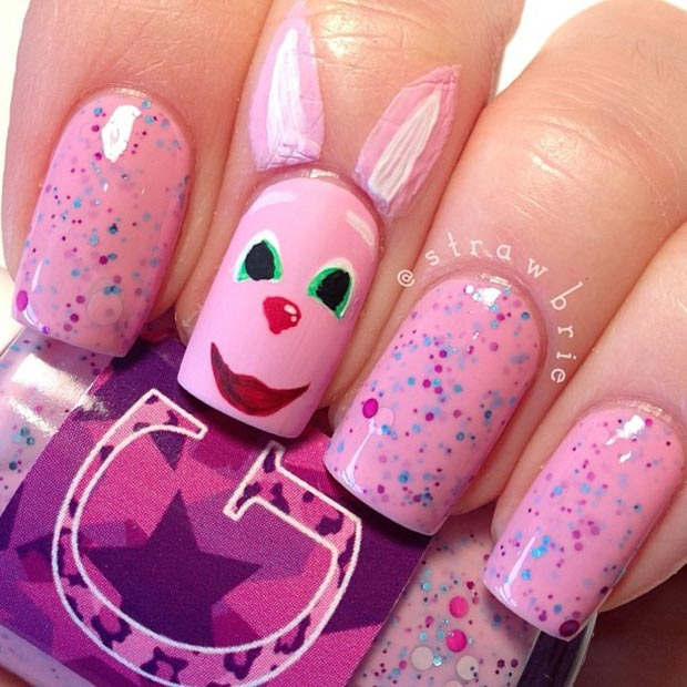 Simple Pink Bunny Nail Design