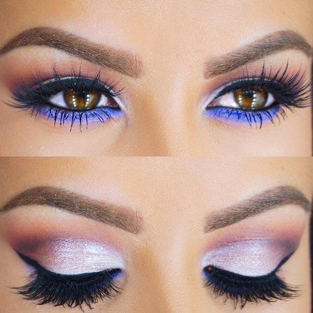 Серебряные глаза с пурпуром под макияжем глаз