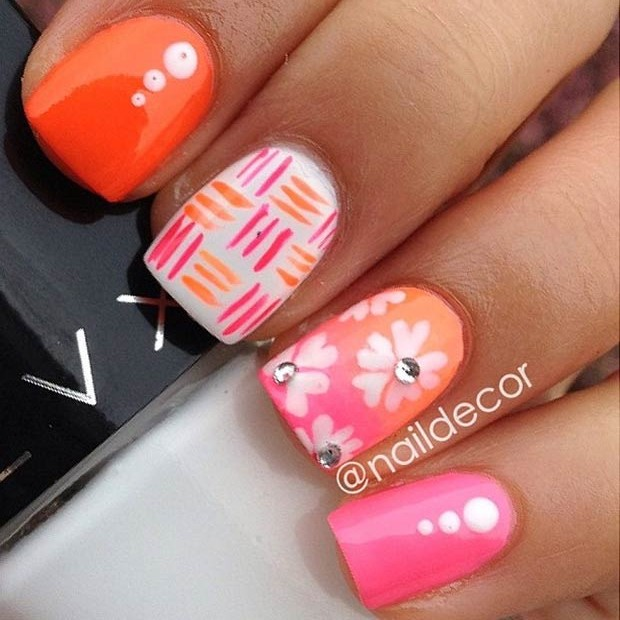 50 flower nail designs for spring stayglam neon flower nail design instagram naildecor prinsesfo Image collections