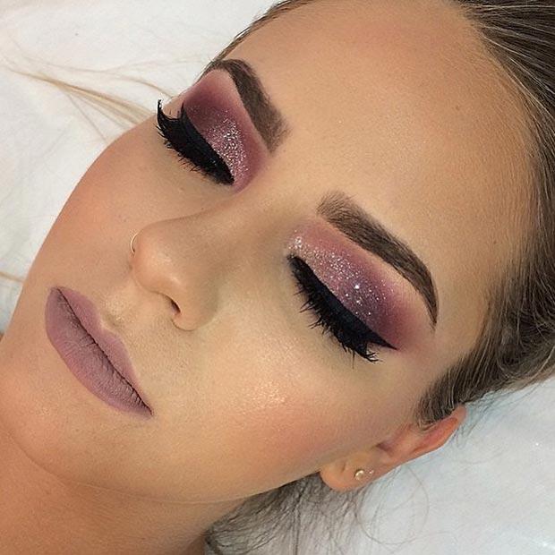 Burgundy Glitter Eye Makeup Look