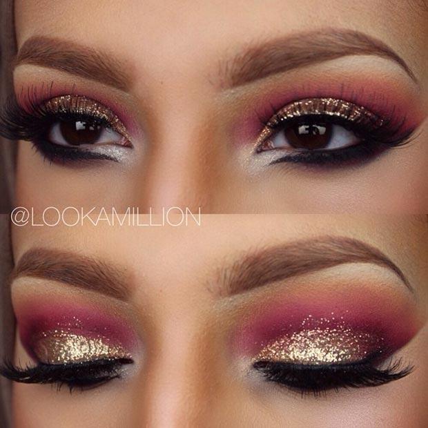 Золото и розовый макияж глаз выглядят