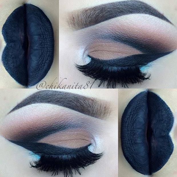 Черно-коричневый макияж глаз взгляд
