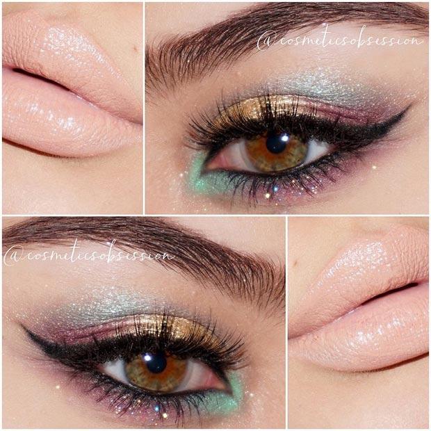 Теплый макияж глаз взгляд для карих глаз