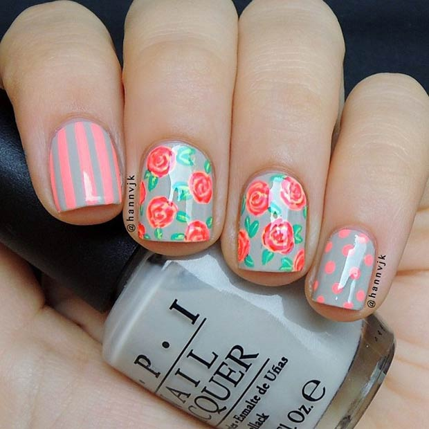 Mixed Pattern Nail Design. Instagram / hannvjk - 50 Flower Nail Designs For Spring StayGlam