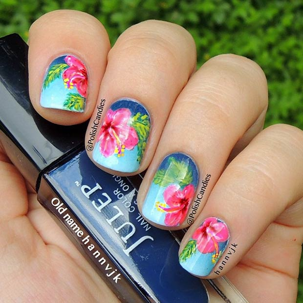 Tropical Flowers Nails