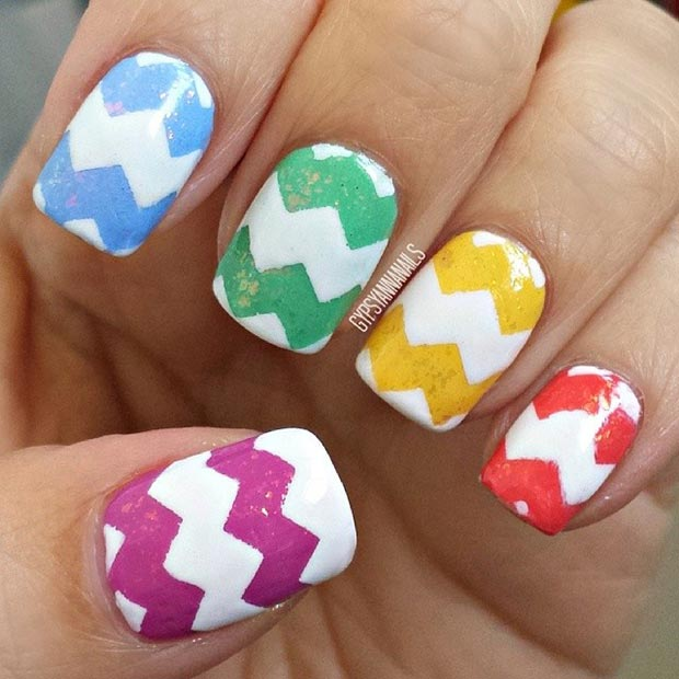 Easter Chevron Nail Design