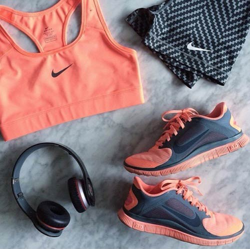Neon Orange And Grey Workout Outfit