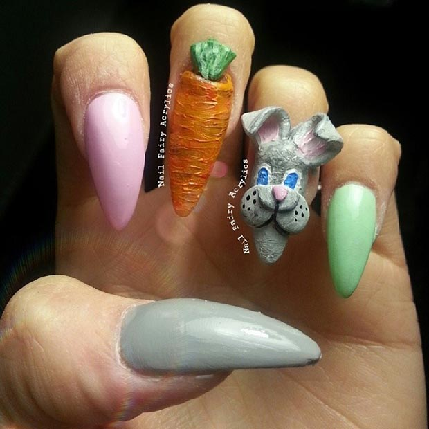 32 cute nail art designs for easter stayglam 3d nails easter 3d nail art design prinsesfo Gallery