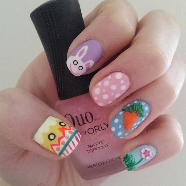 32 cute nail art designs for easter stayglam easter matte nail art design prinsesfo Choice Image