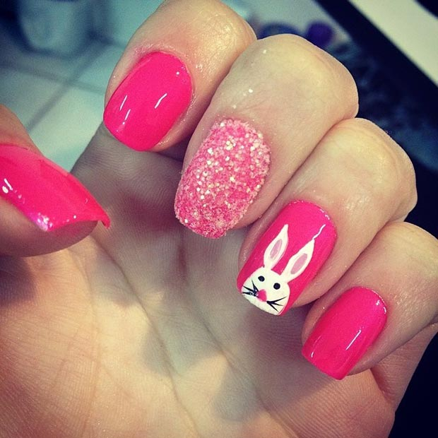 Hot Pink Easter Nail Art Design