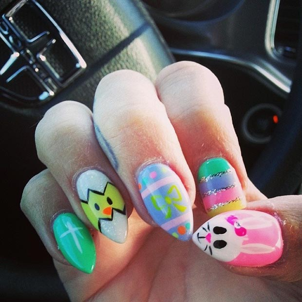 Easter Stiletto Nail Art Design