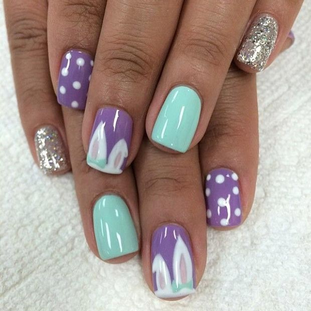 Purple and Turquoise Easter Nails