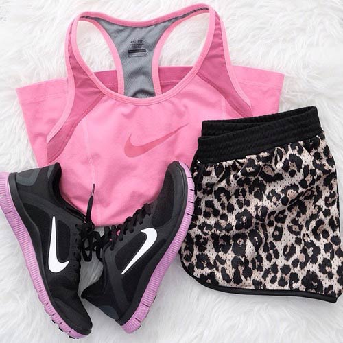 Pink and Leopard Workout Outfit