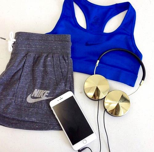 Grey and Blue Workout Outfit