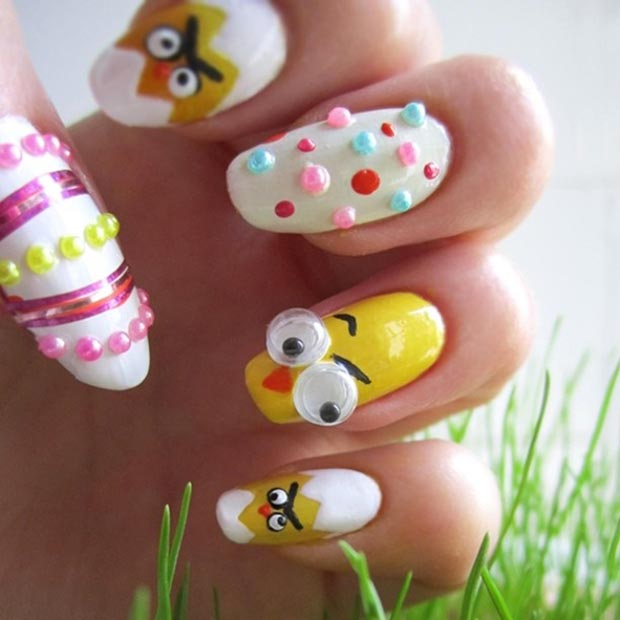 3D Easter Chicken Nail Design