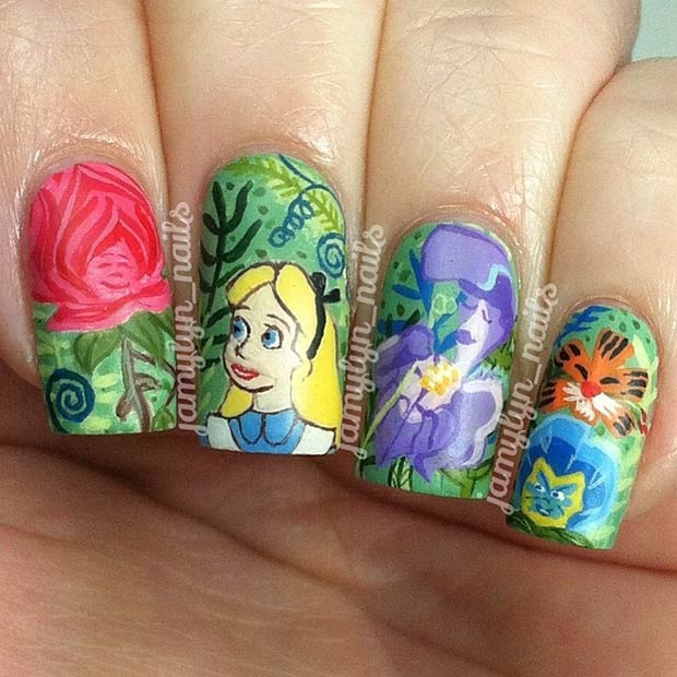 Colorful Alice in Wonderland Nail Design