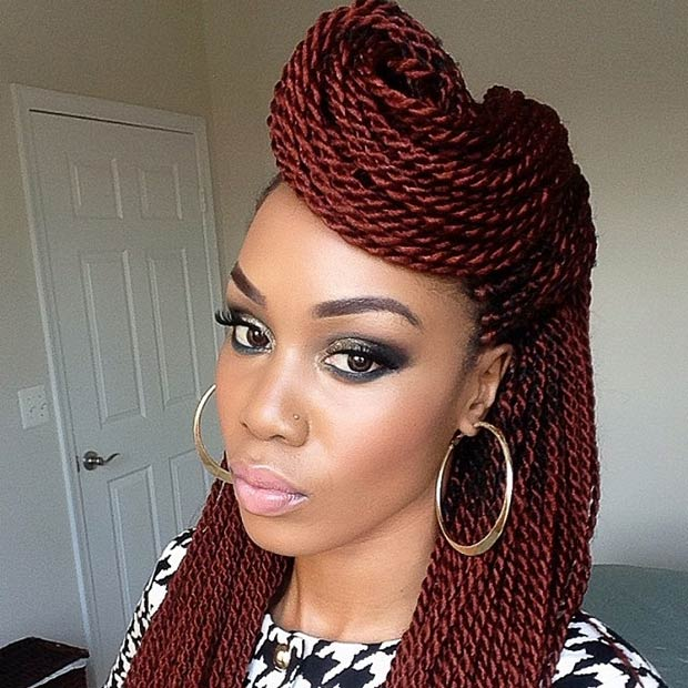 Red Senegalese Twists Half Updo