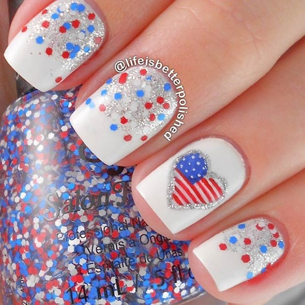 Red, White and Blue Nails. Instagram / lifeisbetterpolished - 29 Fantastic Fourth Of July Nail Design Ideas StayGlam