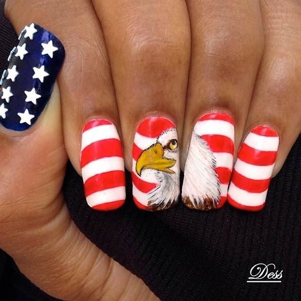 American Flag and Eagle Nail Design - 29 Fantastic Fourth Of July Nail Design Ideas StayGlam