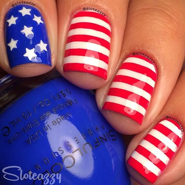 Patriotic Nail Design. Instagram / sloteazzy - 29 Fantastic Fourth Of July Nail Design Ideas StayGlam