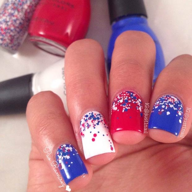 Simple Red White Blue Nail Design