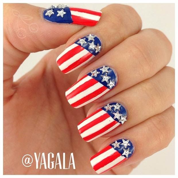 29 fantastic fourth of july nail design ideas stayglam patriotic nail design for 4th of july prinsesfo Images