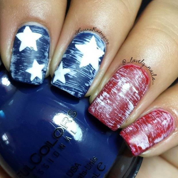 Matte Dark Blue & Red Nail Design