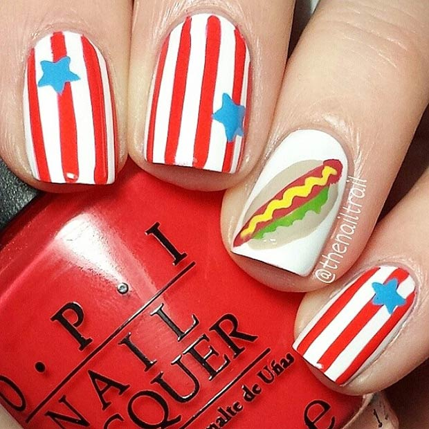 American Hot Dog Accent Nail